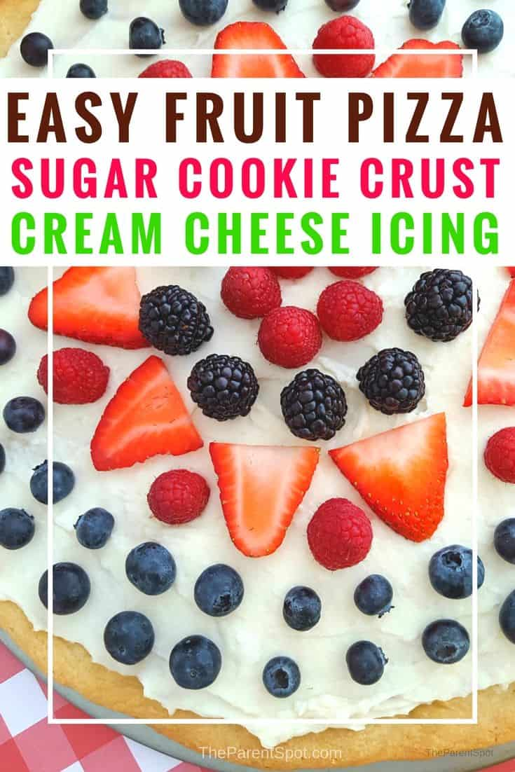 Easy fruit pizza recipe with a sugar cookie crust and cream cheese. This is so good! We made it with strawberries and more, but you could use almost any kind of fruit. #dessert #dessertrecipes