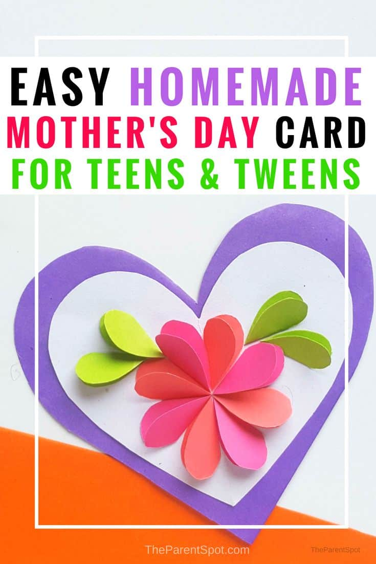 Easy to make homemade mothers day craft for teens This is one of our very favorite crafts for teens, a beautiful homemade card made with craft paper with a pretty heart inside. #mothersday #mothersdaygift