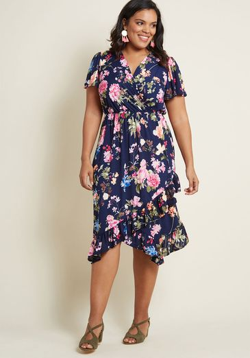 Feminine Flattery Floral Wrap Dress