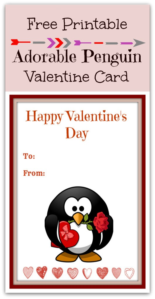 Free Printable Cute Penguin Valentines Day Card