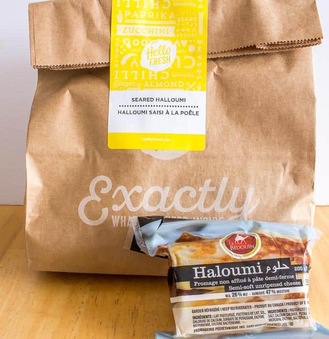 Hello Fresh Veggie Box Seared Halloumi in the bag