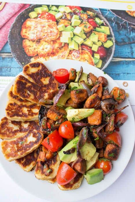 Hello Fresh seared halloumi cheese with menu photo