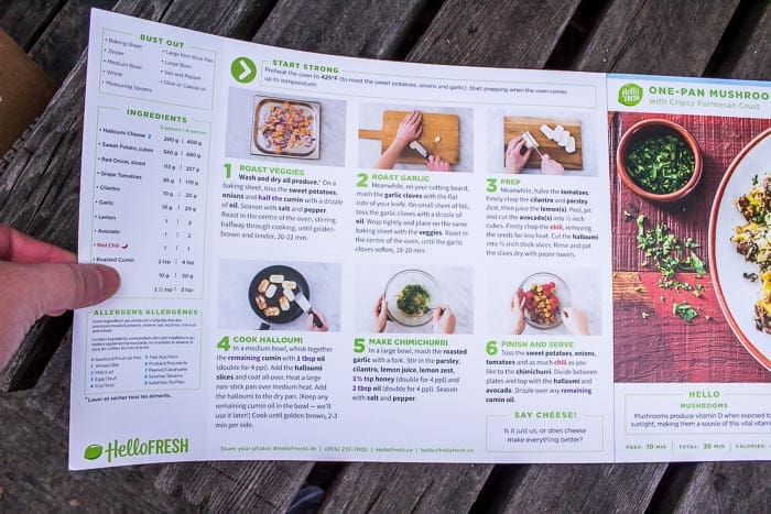 HelloFresh Veggie Box recipe card