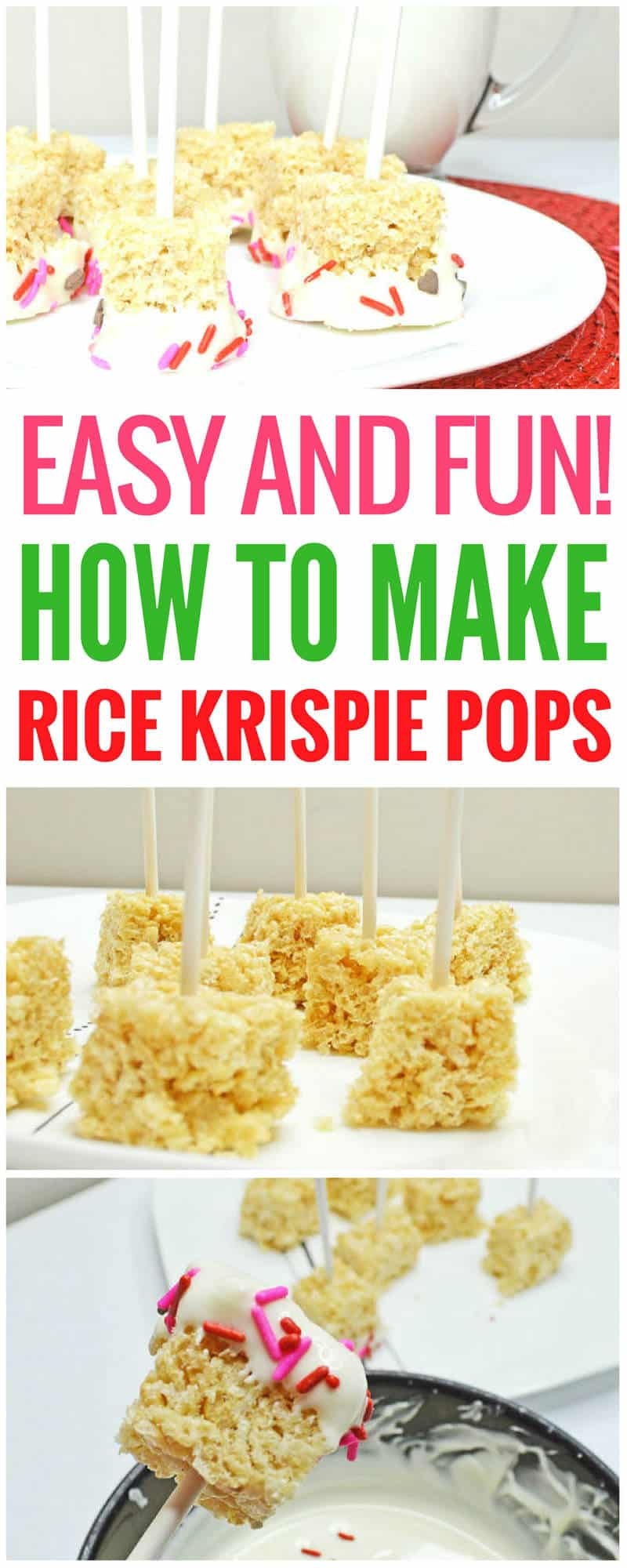 How to make Rice Krispie pops. This Rice Krispie pops recipe is the easy, fun one you've been looking for. You can make these Rice Krispie treats in no time, even with the kids helping. These would be great for a birthday, or really anytime you're craving something so good and sweet! Rice Krispie treats | Rice Krispie pops | Rice Krispie pops birthday | white chocolate dipped Rice Krispie pops | pink Rice Krispie pops | Rice Krispie pops with sprinkles | Rice Krispie pops with sprinkles and marshmallows #dessert #sweet #dessertrecipes #ricekrispiestreats #ricekrispies #dessert #sweet #dessertrecipes