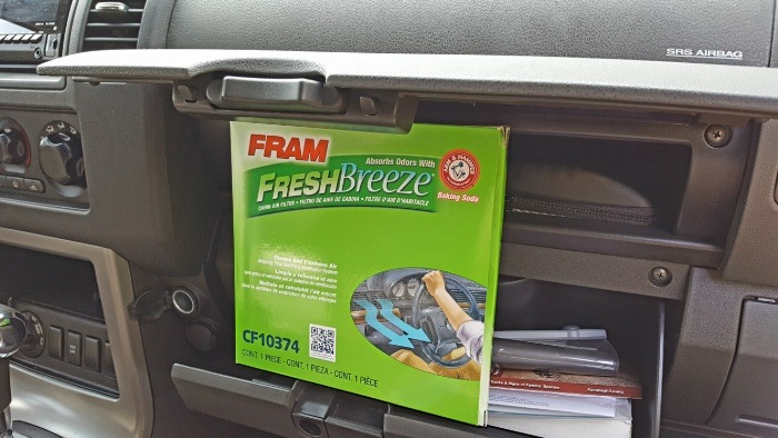 Installing FRAM cabin air filter new filter