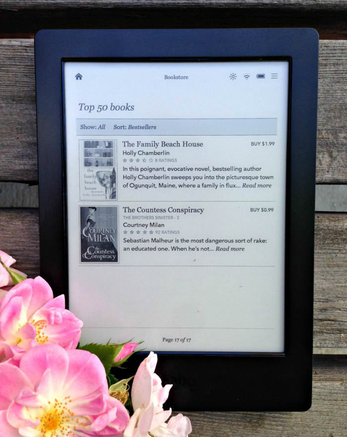 Kobo Aura H2O Top 50 books with roses