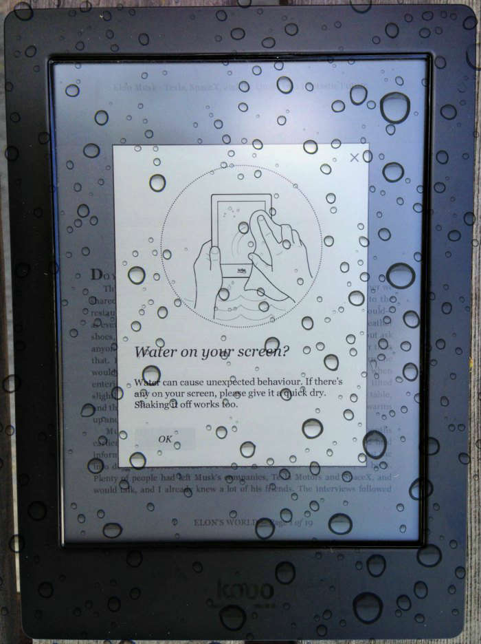 Kobo Aura H2O Water on your screen