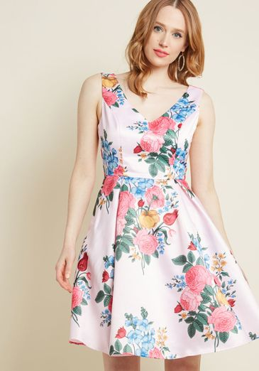 Ladylike Luxury Fit and Flare Dress in Petal