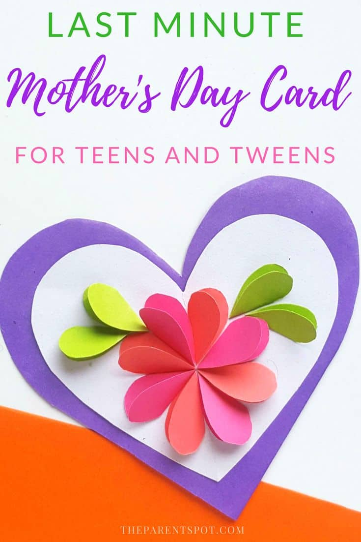 Last minute paper heart card mothers day craft for teens. This is a great card to make at the last minute, it uses supplies you probably have at home already, only takes a few minutes, but turns out beautifully. #mothersday #mothersdaygift