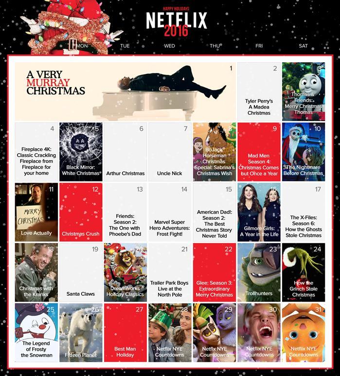 Netflix Canada Holiday Calendar