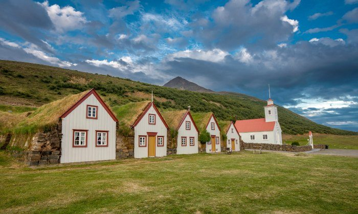 Northern Iceland Laufaskirkja Old Style Turf Houses