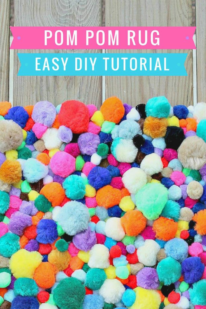 pom pom rug diy tutorials | How to make a pom pom rug | pom pom rug instructions | yarn pom pom rug diy |
