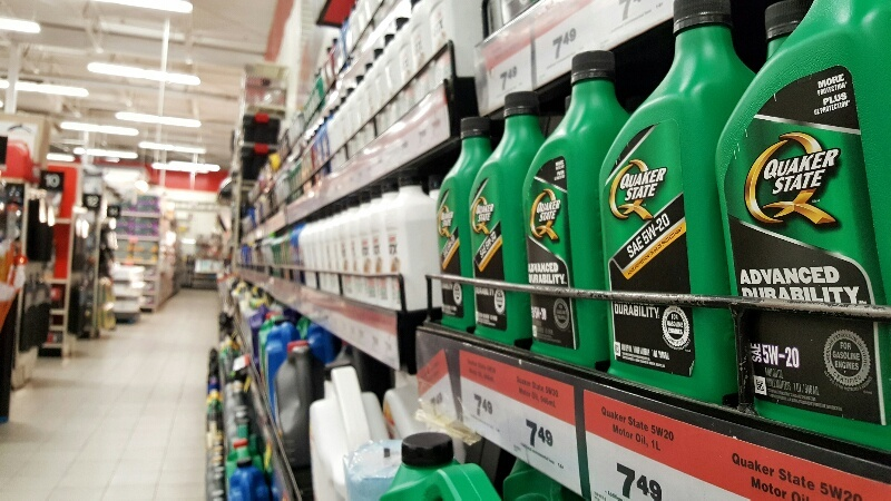 Quaker State Advanced Durability Motor Oil on shelf