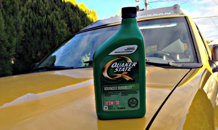Quaker State Oil on truck Car hood