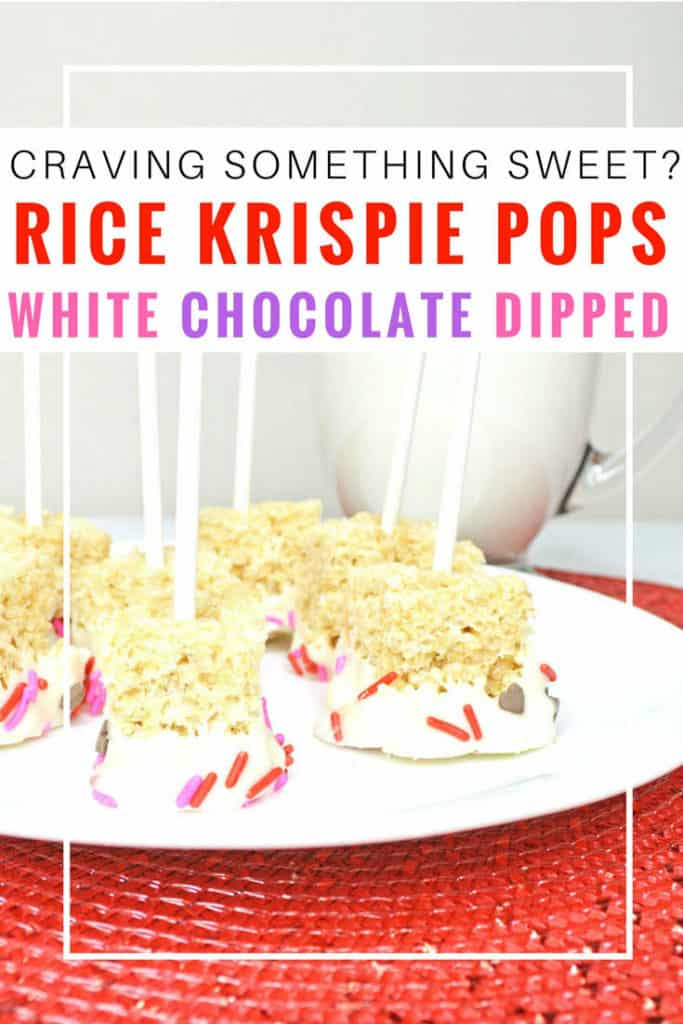 white chocolate dipped Rice Krispie pops. These are easy to make, tasty and a lot of fun. It's a great recipe to make with the kids, and we're looking forward to making them for a party or birthday soon! We've made these with white chocolate and sprinkles, but you could use any toppings you like! Rice Krispie treats | Rice Krispie pops | Rice Krispie pops birthday | Rice Krispie pops recipe | How to make Rice Krispie pops | pink Rice Krispie pops | Rice Krispie pops with sprinkles | Rice Krispie pops with sprinkles and marshmallows #ricekrispiestreats #ricekrispies #dessert #sweet #dessertrecipes