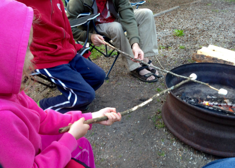 Roasting marshmallows outside