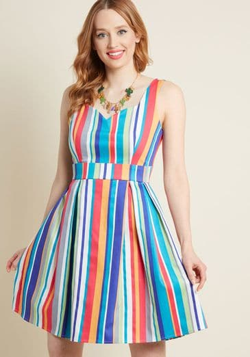 Sassed as You Can A Line Dress in Stripes