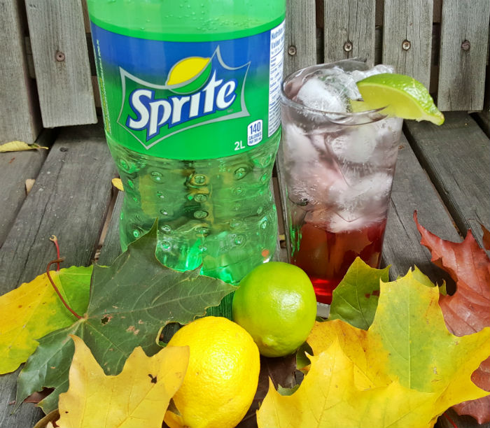Sprite with cranberry fall foliage
