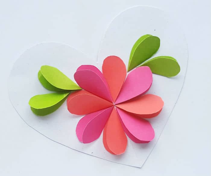Step 4 paper flower on heart craft
