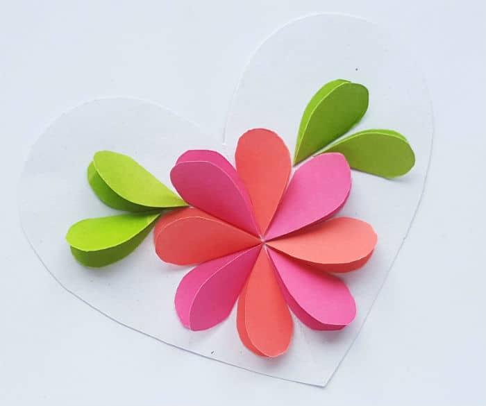 Step 4 paper flower on heart craft