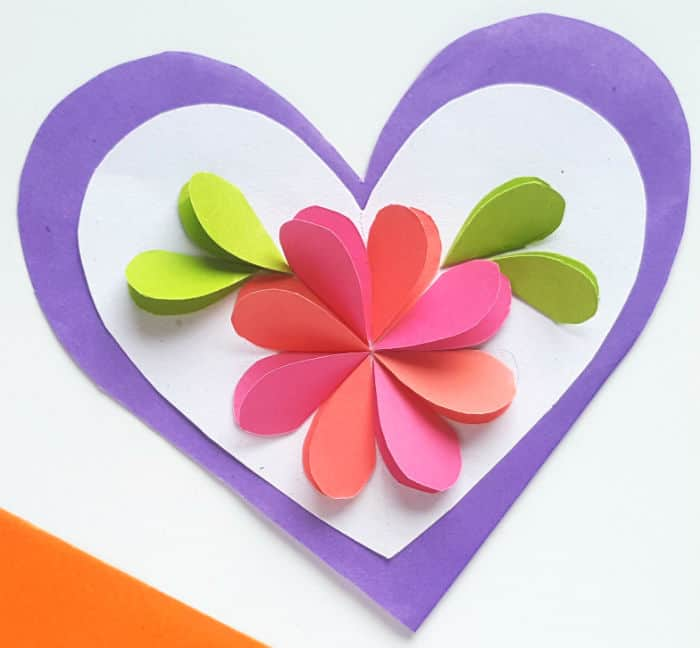 Step 7 finished paper heart card mothers day craft for teens