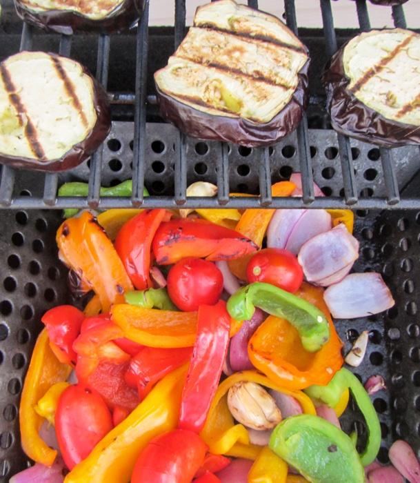 Veggies Halfway Through Grilling Grilling Eggplant and Portabello Mushroom for Slicing Eggplant for Grilling Preparing Basket for Grilling for Healthy Veggies for Grilling Easy AND Healthy Grilled Vegetables