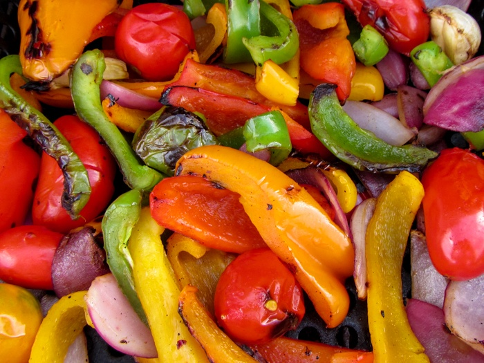 Fresh and hot Finished Adding Tomatoes to Veggies Halfway Through Grilling Grilling Eggplant and Portabello Mushroom for Slicing Eggplant for Grilling Preparing Basket for Grilling for Healthy Veggies for Grilling Easy AND Healthy Grilled Vegetables