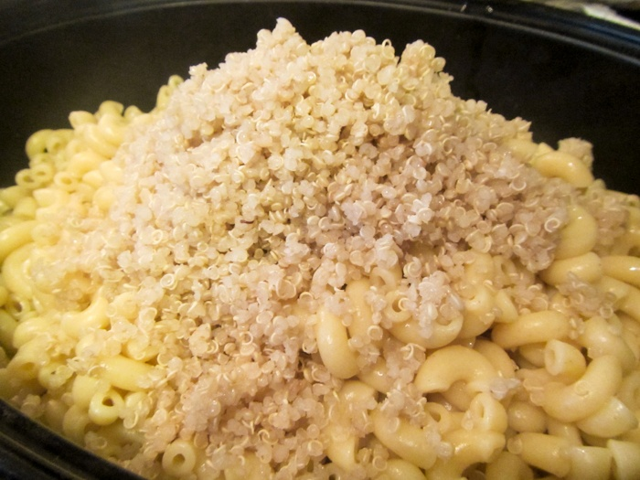 Adding the Quinoa to Quinoa Macaroni and Cheese