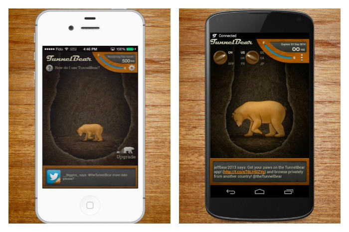 TunnelBear on Mobile iPhone Android TunnelBear Canada review