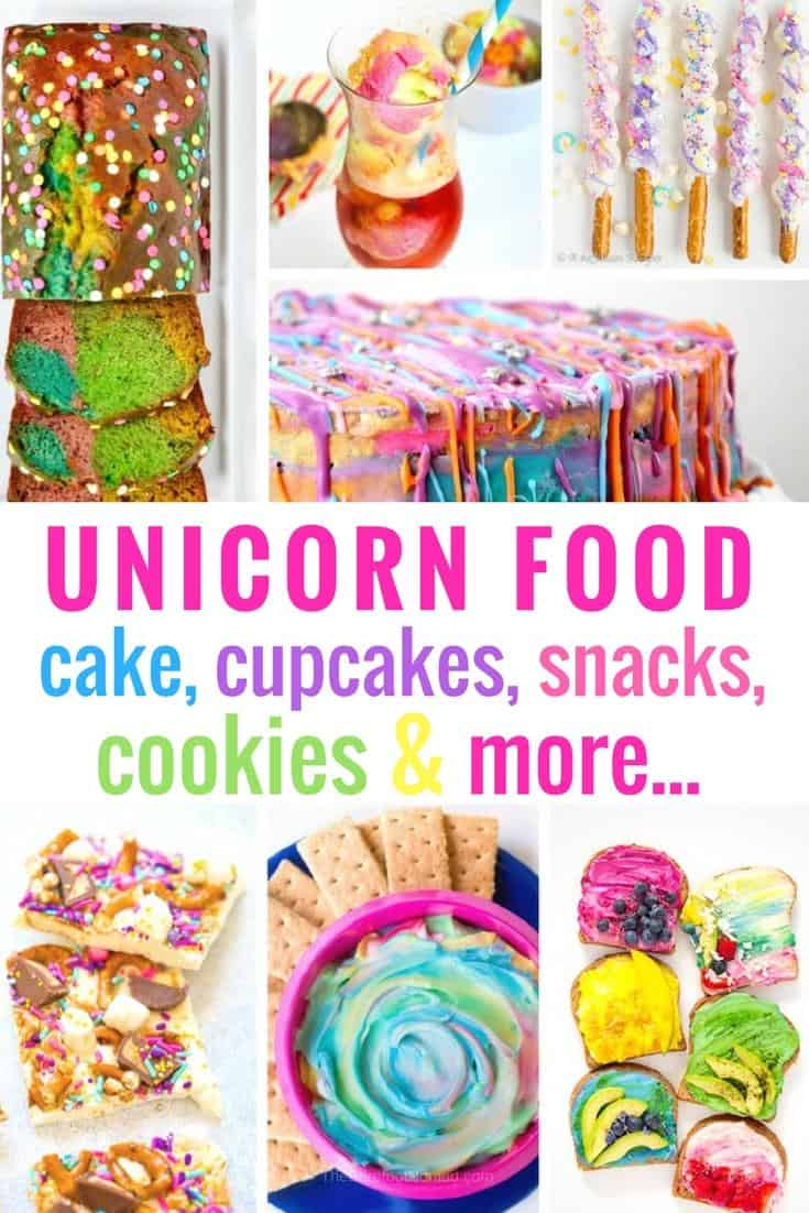 We love unicorn inspired food over here! Check out our very favorite recipes for unicorn cake, cupcakes, snacks, cookies, and more! #unicorn #unicorncake #dessert #rainbow #dessertrecipes