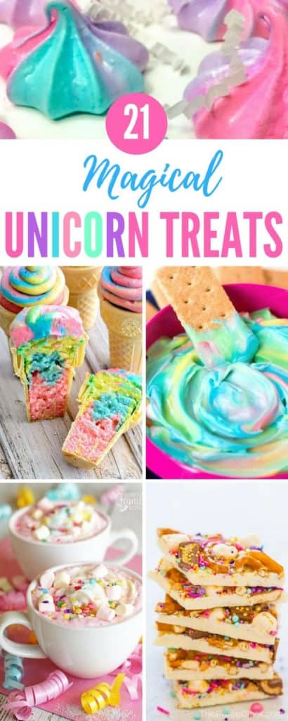 Here are 21 of the best unicorn treats we could find, with recipes for yummy DIY unicorn recipes that range from healthy treats to unicorn milkshakes and cookies. #unicorn #unicorncake #dessert #rainbow #dessertrecipes