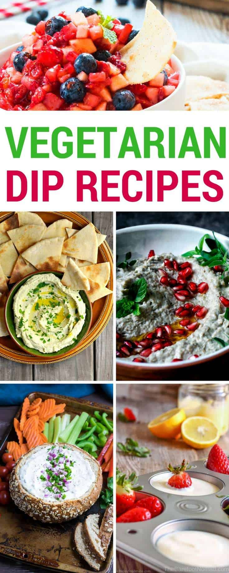 Best vegetarian dips! Looking for some easy and tasty vegetarian dip recipes! We love dips in our house, and these are some of our favorites, including cheese dips, spinach dips, fruit dips, and even chocolate and dessert dips for the vegetarian dip lover!