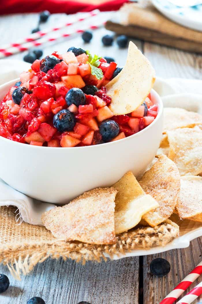 vegetarian Very Berry Fruit Salsa With Sopapilla Chips