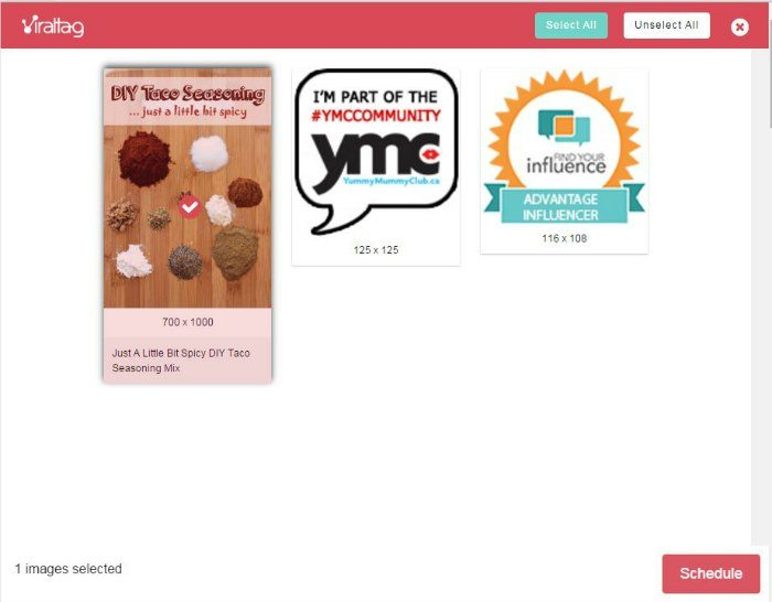 ViralTag Selected Pin Image and Click Schedule