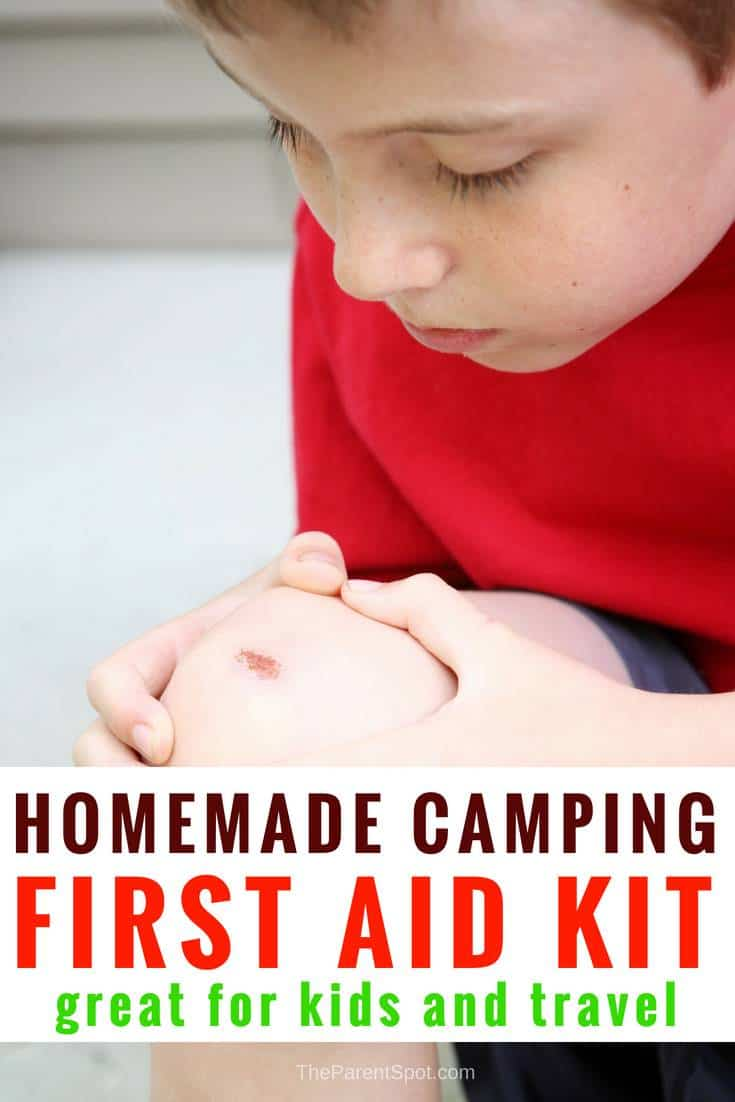 a homemade first aid kit for travel camping for kids during summer break