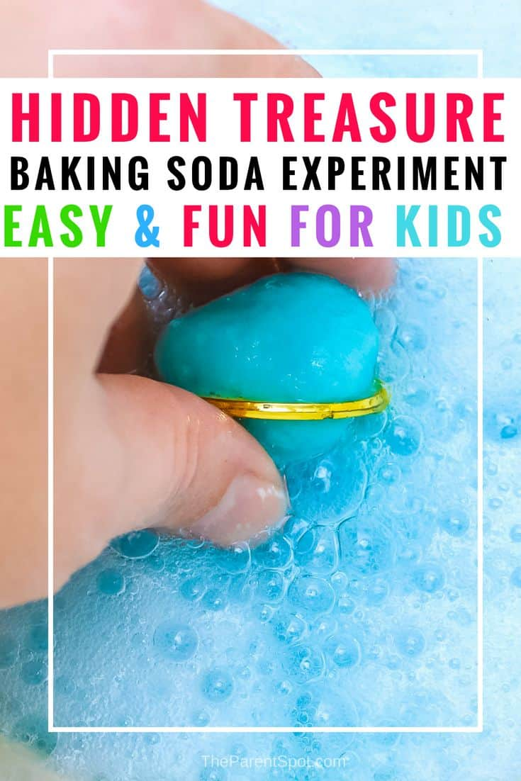 Want to have some baking soda science fun with the kids. This easy fizzy hidden treasure baking soda experiment for kids