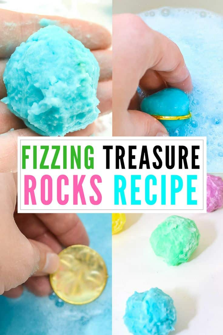 These fizzing treasure rocks gold inside! It's a fun STEM and science experiment that kids will love. Suitable for toddlers, preschoolers, elementary age or really just any kid or parent that wants a fun, easy experiment.