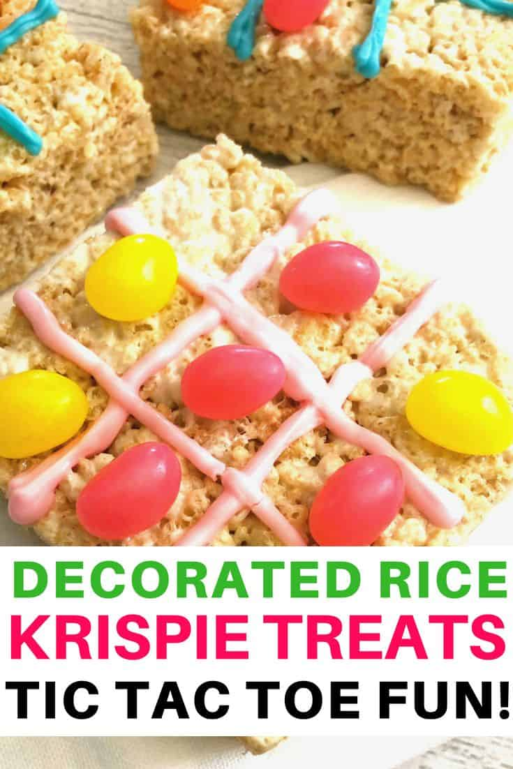fun with decorated Rice Krispie treats tic tac toe