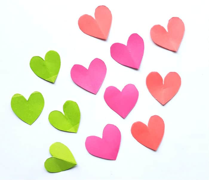 small cut out hearts Step 1