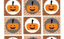 Halloween Printable - Square Cupcake Toppers Jack O'lantern